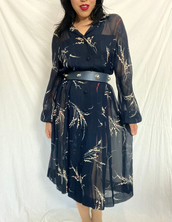 1980s Sheer Blue Floral Midi Dress, 1980s does 195