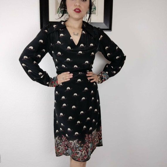 1970s Biba Style Silk FULL MOON Print Midi Dress,