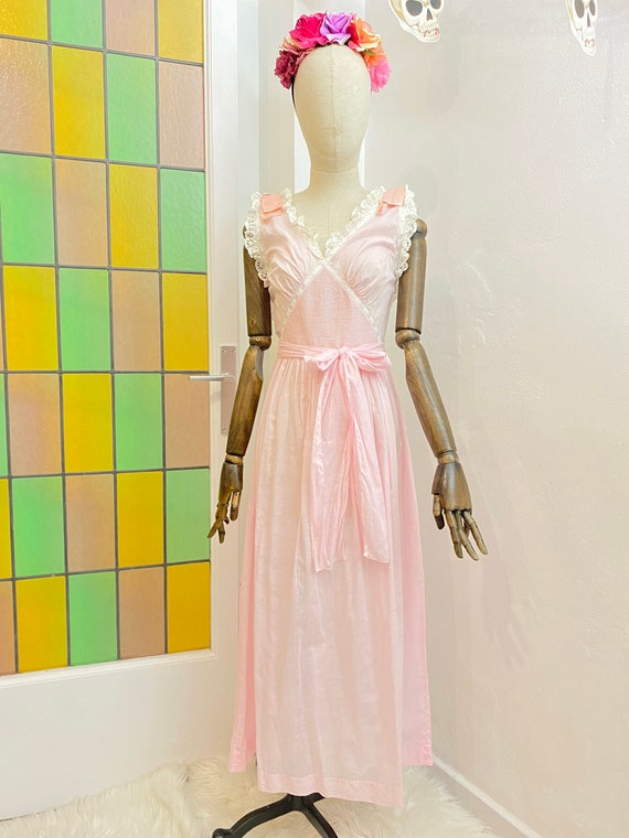 1940s Baby Pink Dainty Cotton Night Gown, 40s Slip