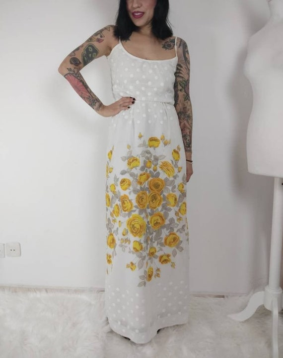 1960s Yellow Rose Maxi Sun Dress, 60s Maxi Dress,