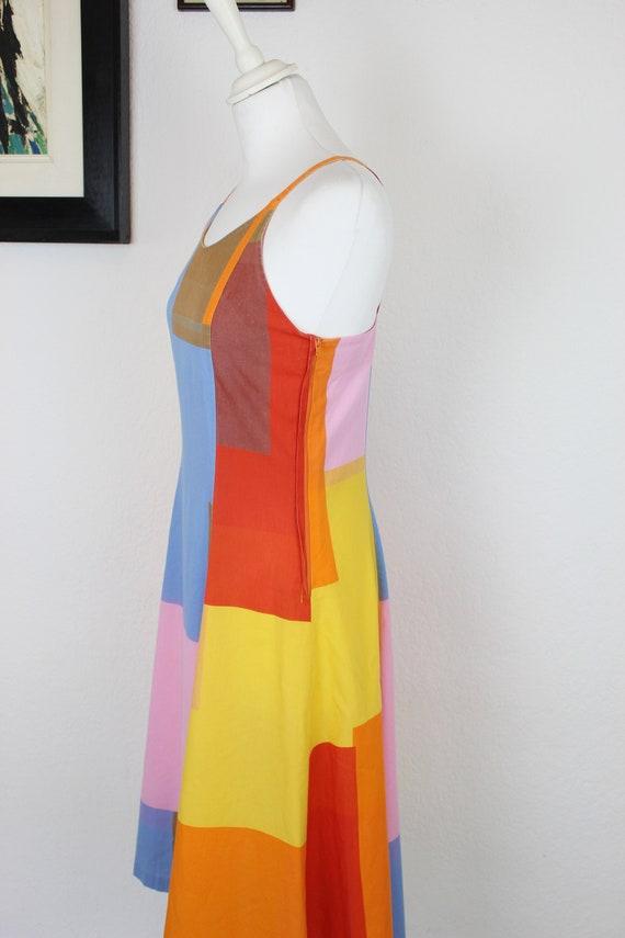 1970s-1980s Marimekko Color Block Cotton Dress, 1… - image 4