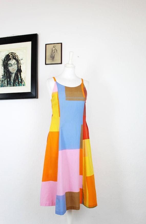 1970s-1980s Marimekko Color Block Cotton Dress, 19