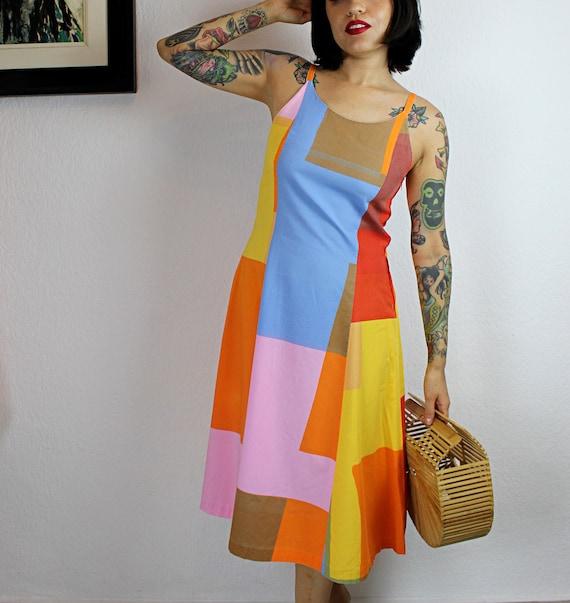 1970s-1980s Marimekko Color Block Cotton Dress, 1… - image 6