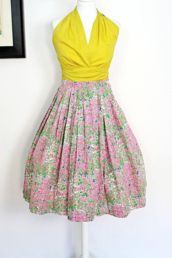 Vintage 1950s Floral Circle Skirt, Pastel colors,
