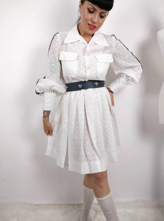 1960s White Lolita Shirtwaist Dress, Bishop Sleeve