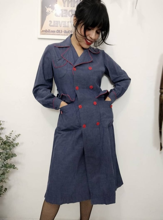1940s French Indigo Chambray Work Wear Dress, Vint