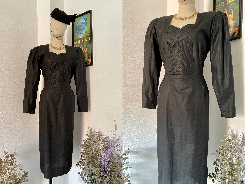 80s Dresses | Casual to Party Dresses 1980S Black Pencil Dress, 80S Cotton Does 1950S, Hourglass Dress, Femme Fatale, Waist 30 $50.00 AT vintagedancer.com