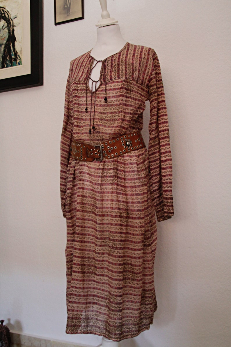 Indian Gauze Cotton Bohemian Gypsy Dress vintage 1970s Indian cotton Dress sheer Cotton dress Boho Maxi Dress