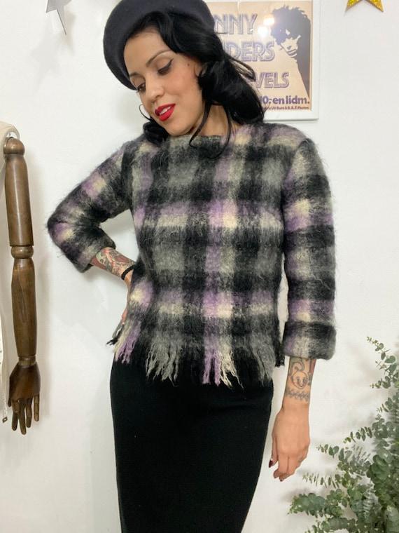 1950s Beatnik Plaid Fuzzy Mohair Pullover Sweater,