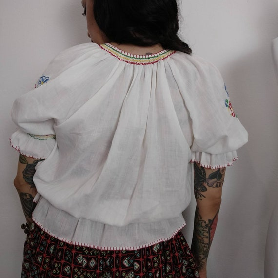 1960s does 1930s Hungarian Embroidered Peasant Bl… - image 9