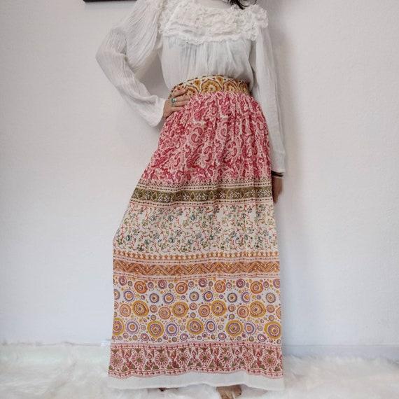 1970s Indian Gauze Cotton Maxi Skirt, Waist 28, 70