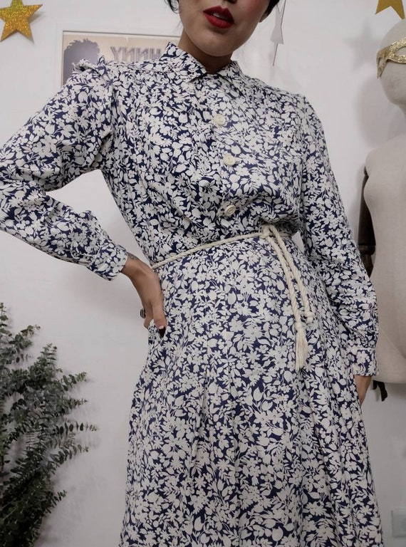 1930s Blue Floral Feedsack Dress, 30s Cotton Day … - image 8