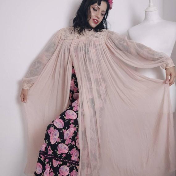 1930s Silk Sheer Peignoir Robe, Ballon Sleeves, 19