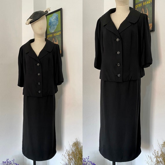 60s70s Freiss Black Skirt Suit