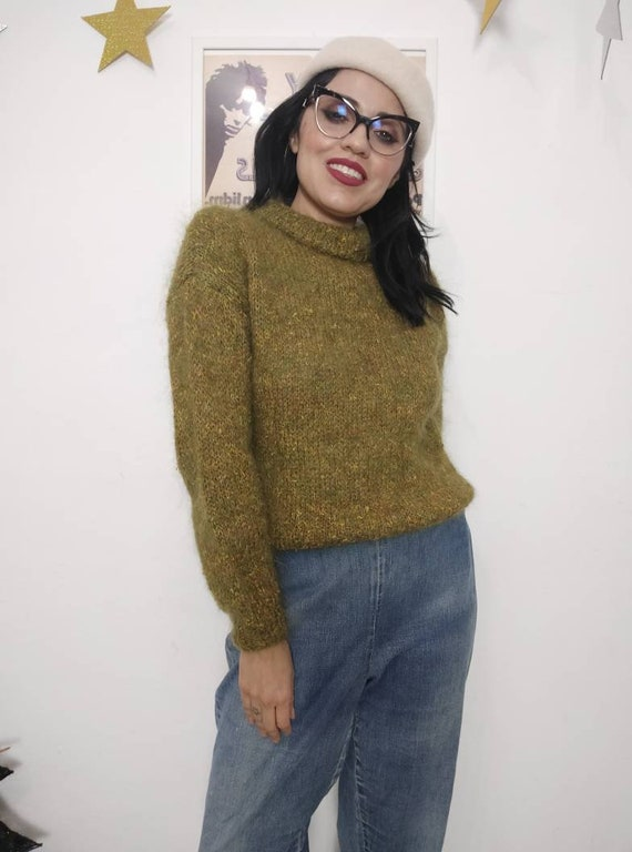 RESERVED 1950s-1960s Beatnik Olive Green Mohair Pu