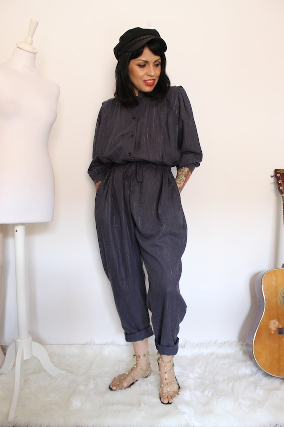 1980s Striped Cotton Jumpsuit, 1980s Workwear Styl