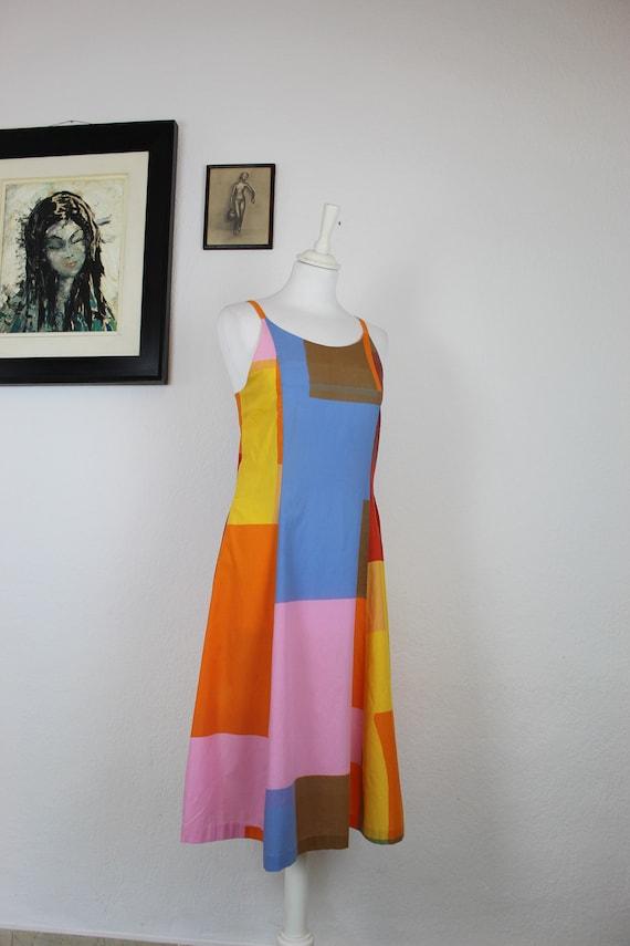 1970s-1980s Marimekko Color Block Cotton Dress, 1… - image 3