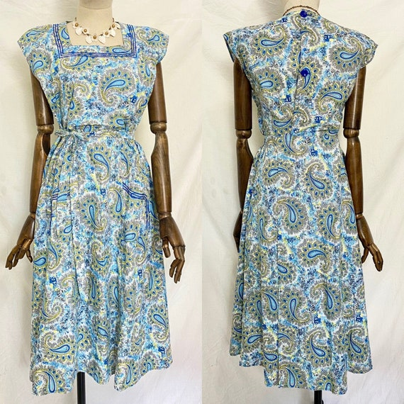 1940s Abstract Print Cotton day Housedress, Mid Ce