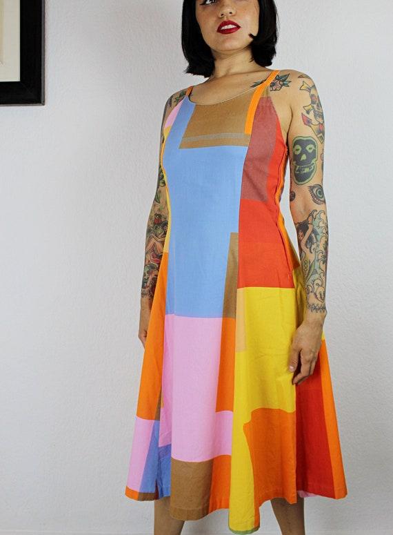 1970s-1980s Marimekko Color Block Cotton Dress, 1… - image 5