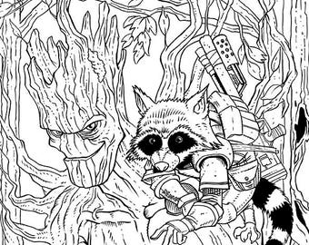 Original pen and ink Illustration Groot and Rocket by Michigan artist Dennis A!