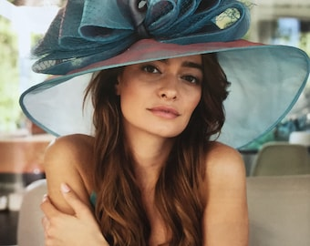 a4ad91602129f Turquoise Blue and Mauve Wide Brim Kentucky Derby Hat Womens Tea Party  Ascot Horse