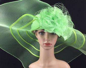 159da846 Lime Green Extra Wide Brim Sinamay and Mesh Wide Brim Kentucky Derby Hat  Church Hat Bridal Wedding Hat Dress Hat Tea Party Hat
