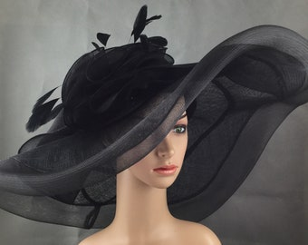 b66fe6f2c2ded3 Extra Wide Brim Black Sinamay and Mesh Wide Brim Kentucky Derby Hat Church  Hat Bridal Wedding Hat Dress Hat Tea Party Hat
