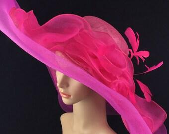 Purple Hot Pink Fuchsia Rose Sinamay Flower Feather Hat Fascinator Wedding 7149