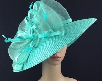 2b473449 Mint Green Kentucky Derby Hat,Derby Hat,Dress Hat Wedding Hat Wide Brim Hat  Tea Party Hat Ascot