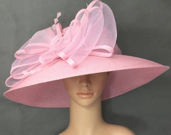 Pink Kentucky Derby Hat Valentines Derby Hat Dress Hat Wedding Hat Wide  Brim Hat Tea Party Hat Ascot 153c346012f