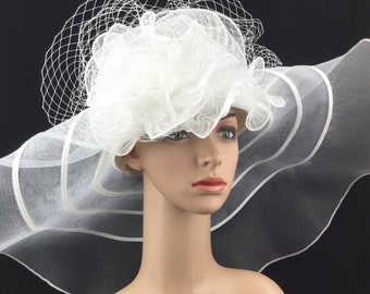 9db668ff712043 True White Wedding Hat Extra Wide Brim Sinamay and Mesh Wide Brim Kentucky  Derby Hat Church Hat Bridal Wedding Hat Dress Hat Tea Party Hat