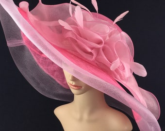 228c6cfc73013a Pink Sinamay and Mesh Wide Brim Kentucky Derby Hat Church Hat Bridal  Wedding Hat Dress Hat Tea Party Hat