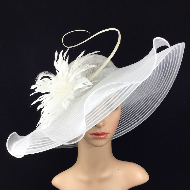 4462b26957ce51 White Sinamay and Silk Wide Brim Kentucky Derby Hat Church | Etsy