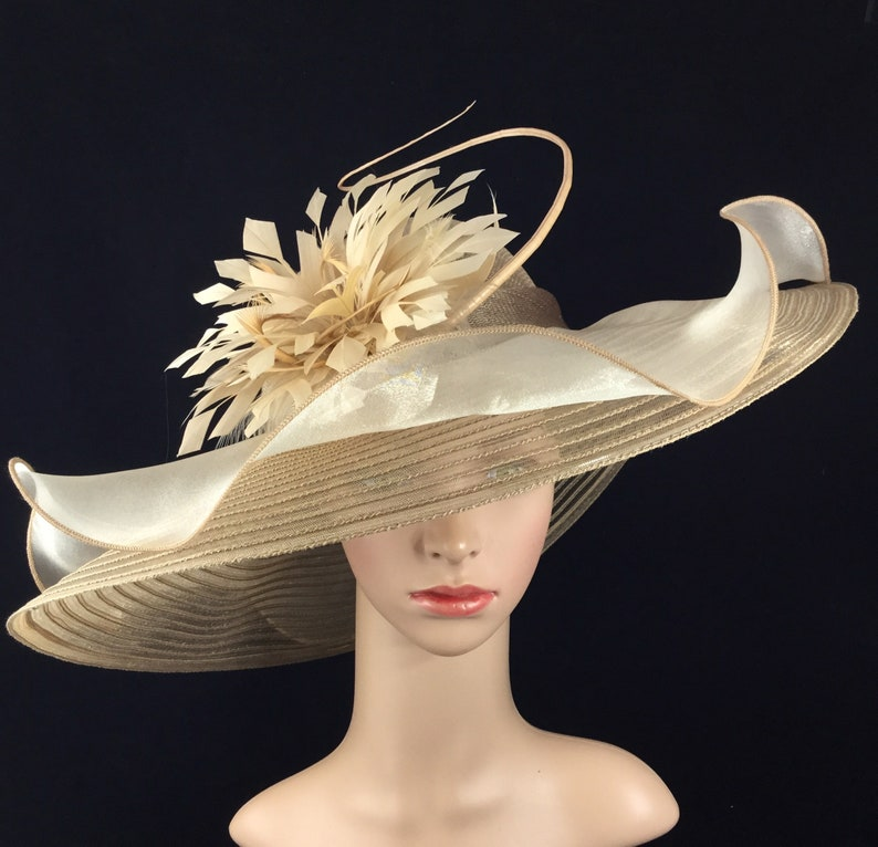 853828dd1a23ac Champagne Gold Sinamay and Silk Wide Brim Kentucky Derby Hat | Etsy