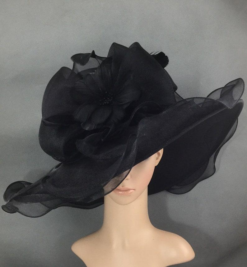 Black Hat funerale con il cappello di piume fiore formale  577b65a5a14d