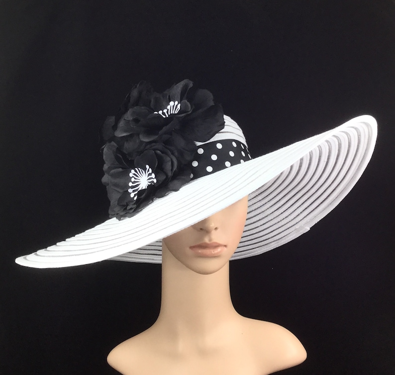 Black White Kentucky Derby Hat with Polka Dot hat band  3f79a6854d30