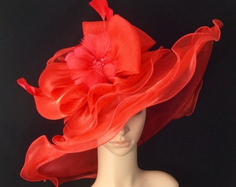 Red Kentucky Derby Hat with big Bow and Feather Flower,Derby Hat,Dress Hat Wedding Hat Wide Brim Hat Tea Party Hat Ascot