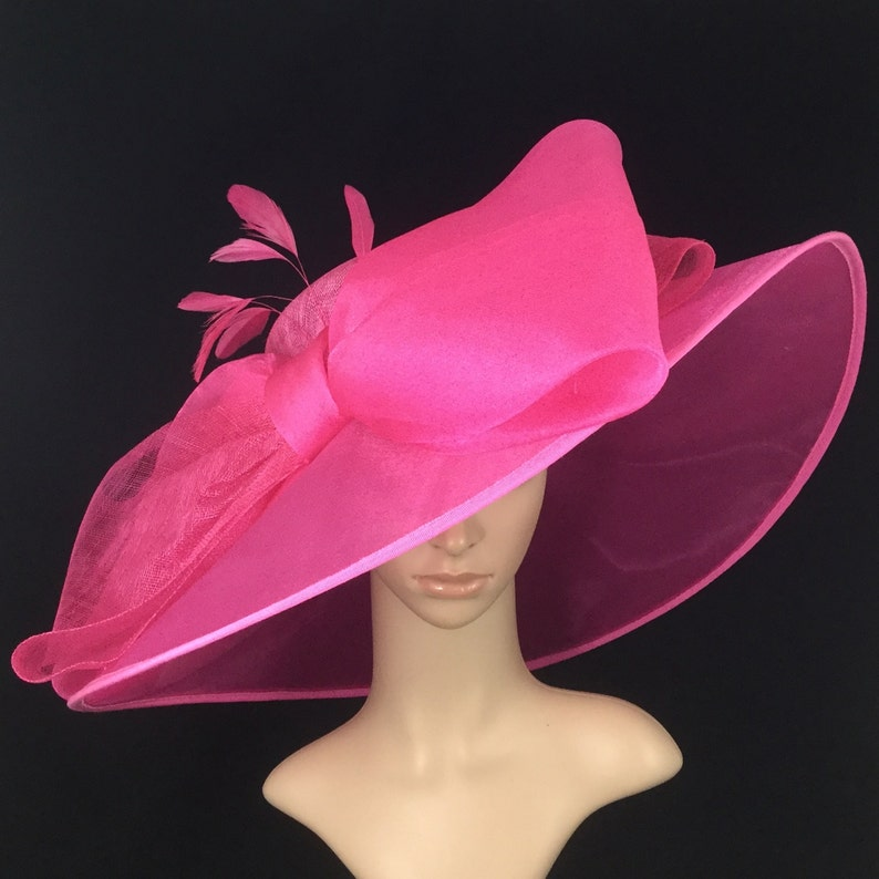 Fuchsia Pink Sinamay and Silk Wide Brim Kentucky Derby Hat  b14f093602c5
