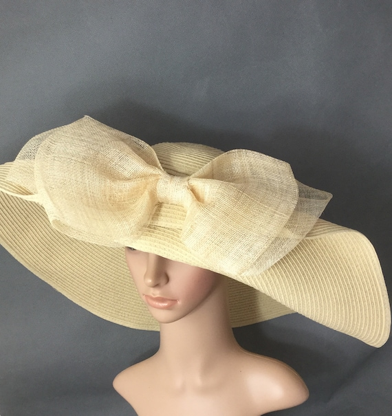 ae3f77ed376 Ivory Kentucky Derby Hat with big Sinamay Bow Derby Hat Dress