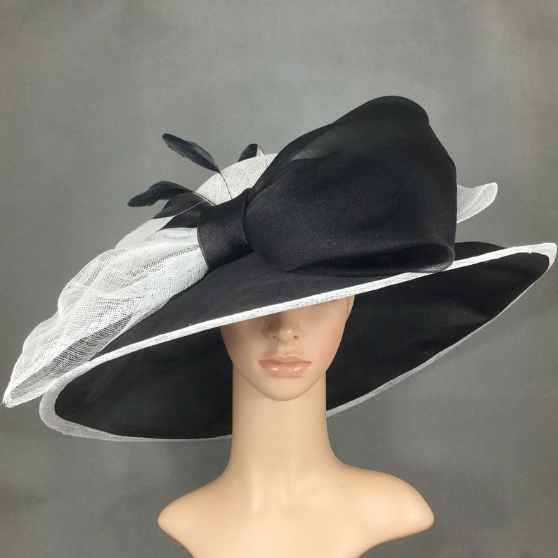6fc1e825175fa2 Black and White Sinamay and Silk Wide Brim Kentucky Derby Hat | Etsy