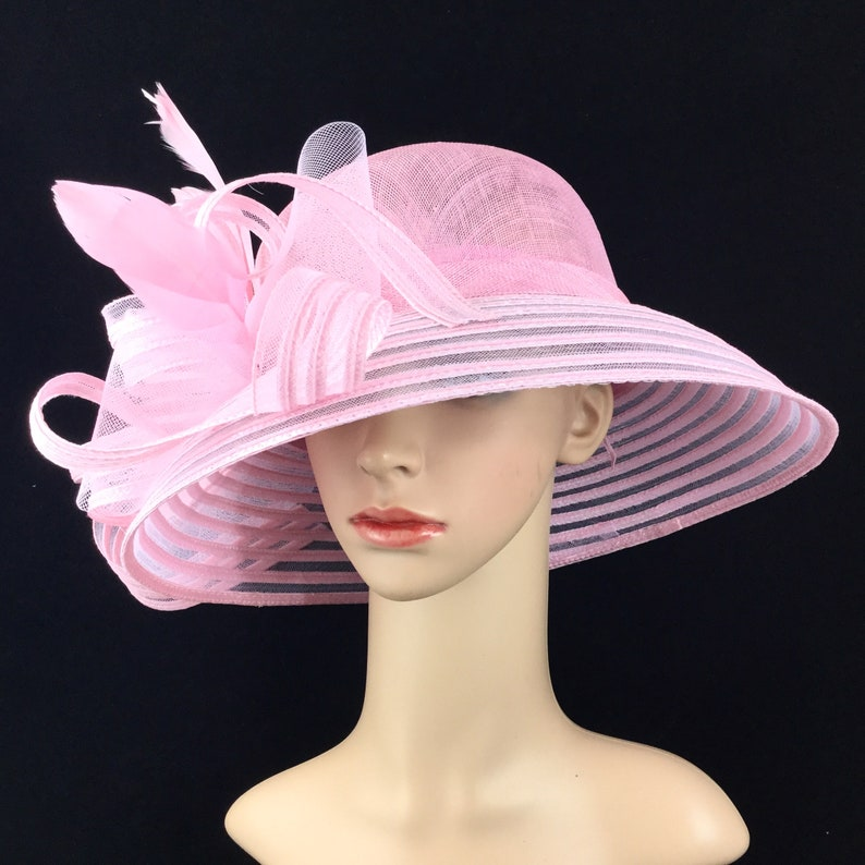 0bf4e7c601a535 Pink Sinamay Lampshade Kentucky Derby Hat Derby Hat Dress Hat | Etsy