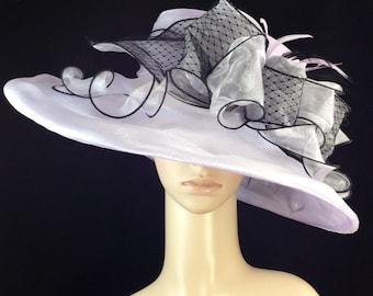 Lavender Purple Kentucky Derby Hat,Derby Hat,Dress Hat , Wedding Hat Wide Brim Hat Tea Party Hat Ascot