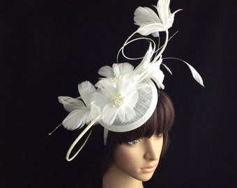 White Feather Kentucky Derby Fascinator, Limited Quantity !