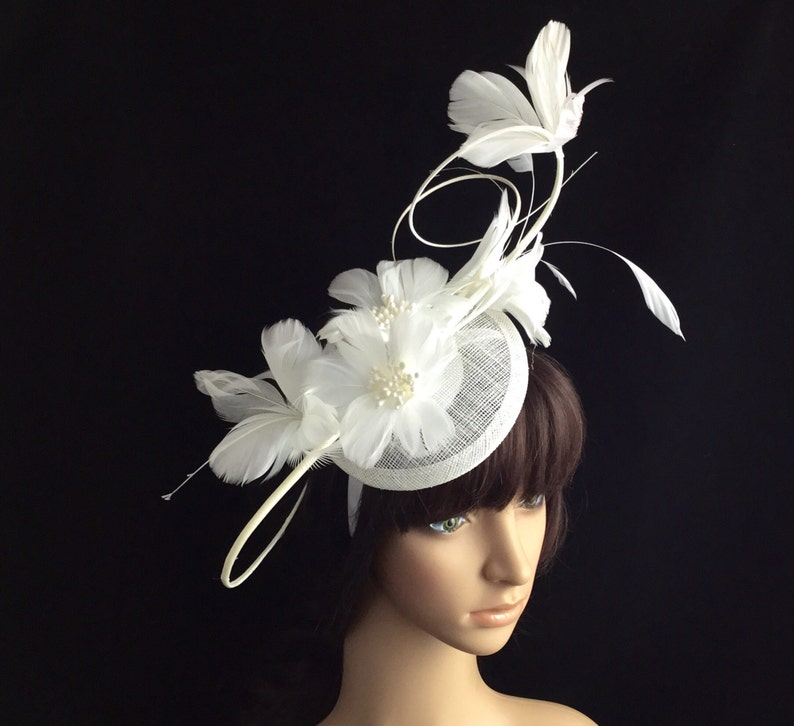 White Fascinator White feather Derby hat Sinamay  a4cb006e1375
