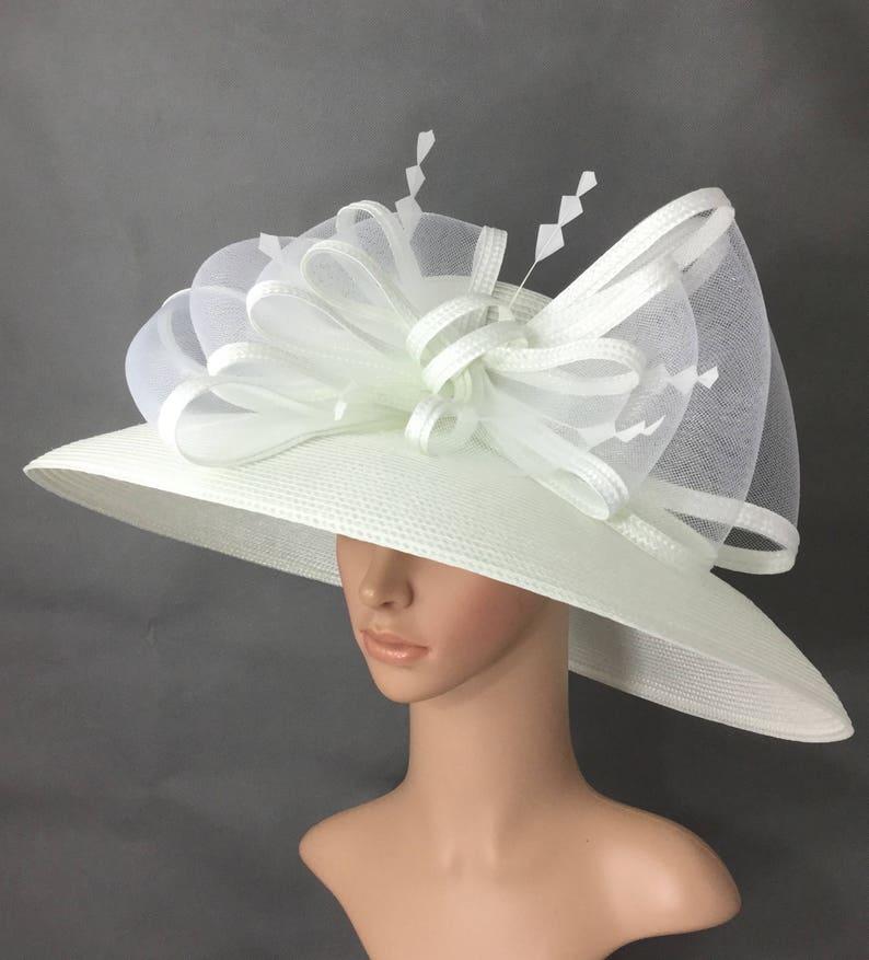 c00fbc5184416 White Kentucky Derby HatDerby HatDress Hat Wedding Hat Wide