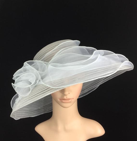 Silver Grey Kentucky Derby Hat Lampshade Womens Derby Hat Wide  222f355d853