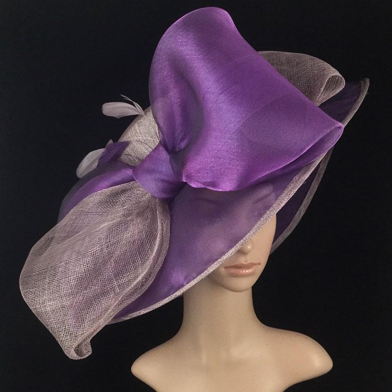 Purple Sinamay And Silk Wide Brim Kentucky Derby Hat Church Hat Bridal Wedding Hat Dress Hat Tea Party Hat