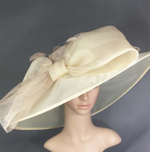 Champagne Gold Sinamay and Silk Wide Brim Kentucky Derby Hat  262fe9415850