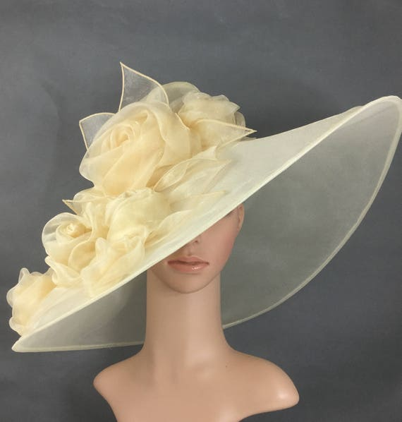 Champagne Gold Kentucky Derby Hat with Rose Fascinator Derby  0a1fbd78abc6
