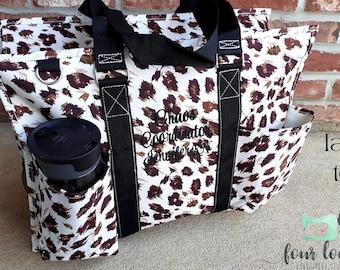 Cheetah Utility Tote Bag, Monogram Cheetah Tote Bag, Tote with Pockets Zipper Top, Cheetah tote Bag,
